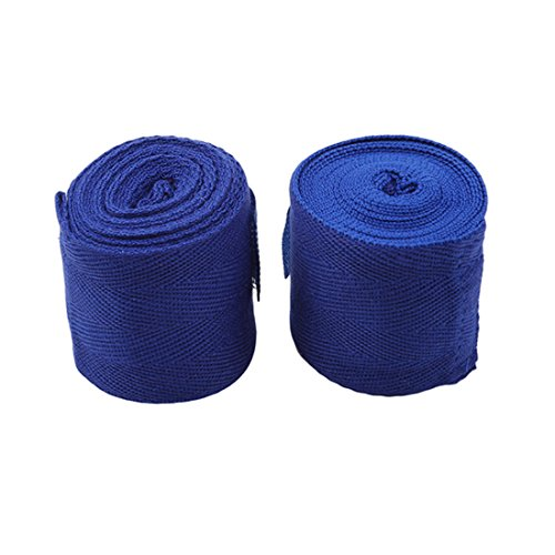 Price comparison product image UNKE 2 Rolls Set Elastic Cotton Hand Wraps,  Boxing Wraps,  Fist Protector Bandages for Muay Thai,  MMA,  Kickboxing, Blue