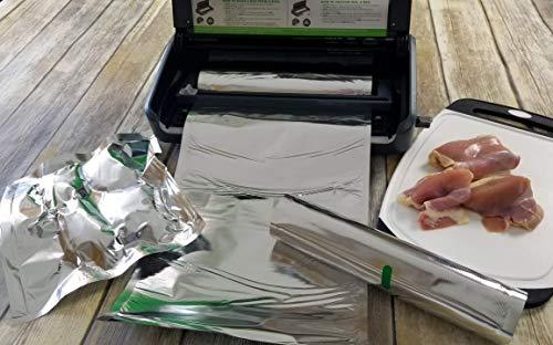 Mylar Vacuum Seal 8″x16′ or 11″x16′ Rolls | SteelPak Textured/Embossed Aluminum Foil Vacuum/Heat Seal Rolls to Create Custom-Sized Vacuum Sealer Bags (3, 11″x16′)