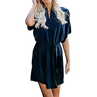 ada4f8e0743 Amazon.com  Copercn Women s Ladies Fashion Elegant Surround Collar Drape  Short Sleeve Button Up Waist-Wrapper Self-tie Belted Midi Dresses Loose  Shirt ...
