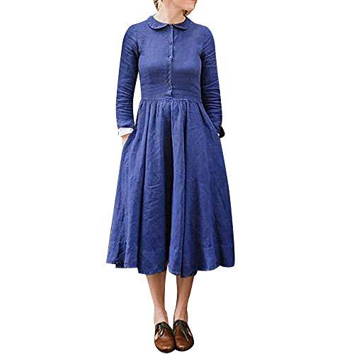 Challeng Vestido Acampanado Inferior de la Manga Larga del botón del algodón de Las Mujeres Ocasionales sólidas Azul