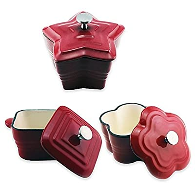 BergHOFF 5-Inch Cast Iron Mini Casseroles in Red (Set of 6)