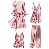 NOMSOCR Womens Comfy Pleuche Pajamas Robes 4-Piece Set Long Sleeve Warm Sleepwear Pants Loungewear (XL, Pink)
