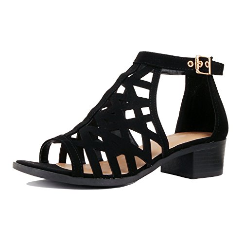 Guilty Heart - Women Comfortable Cut Out Low Block Heel Summer Sandal Sandals, Black Pu, 10 B(M) US