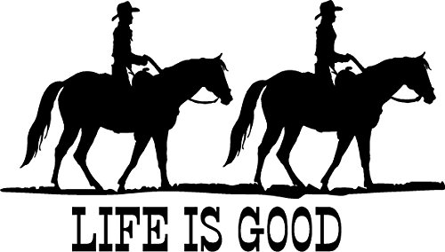 CreativeSignsnDesigns Life is Good- with Horses Trail Riding Graphics- Trailer or Truck Vinyl Decal (32