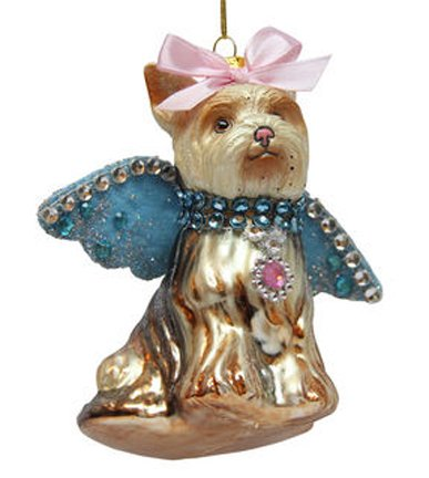 December Diamonds Blown Glass Ornament - Maltese with Blue Wings