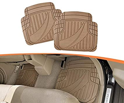 MT-794-GR Gray Motor Trend FlexTough Advanced Performance Mats 4pc HD Rubber Floor Mats for Car SUV Auto All Weather Plus