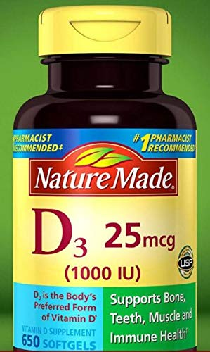 Nature Made Vitamin D3 25 mcg, 1000 IU (1Pack 650 Softgels)