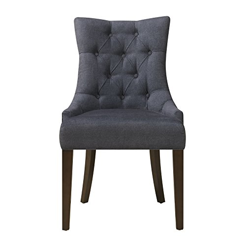 Pulaski Upholstered Button Tufted Dining Chair, Blue Dark wash Denim