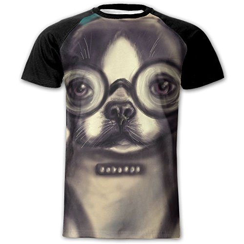 Glasses Dog Unique Men's Shirts Customize Raglan Short Sleeve T Shirt Sports T Shirt Small (Customize Dog Shirts)