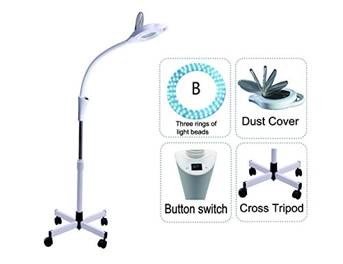 Led Cold Light Magnifying Lamp 5 Times Magnification Movable Cross Tripod Beauty Lamp For Facial Care Tattoo Or Reading Elitzia ETH3004(White 3 Rings Lamp Beads)