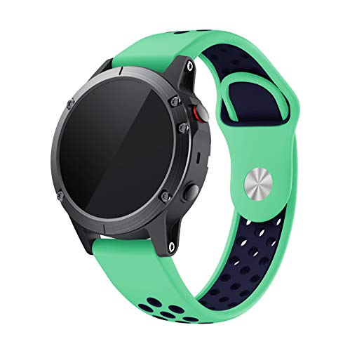 Compatible with Garmin Fenix 5/5 Plus/Forerunner 935/945/45/45S/Instinct Quick Fit Watch Band Silicone Strap Replacement Bracelet Accessory 22mm (Mint Green Midnight Blue)