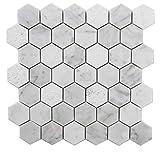Carrara Honeycomb White Multi-Finish Marble 2'' Hexagon Wall Floor Decorative Bathroom Kitchen Backsplash Mosaic (4PCS/CTN 3.84 sqft)