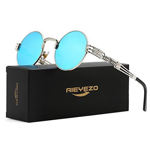 (Round Steampunk Sunglasses John Lennon Hippie Glasses Metal Frame 100% UV Blocking Lens (Silver/Ice Blue Mirror))