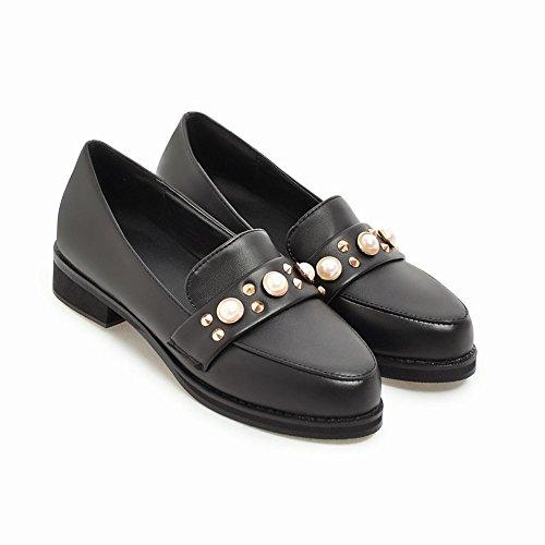 Femmes Chaussures De Tribunal Bas Noir Belle Carolbar Mode Mocassin Perles Talon Des La 40aHYw