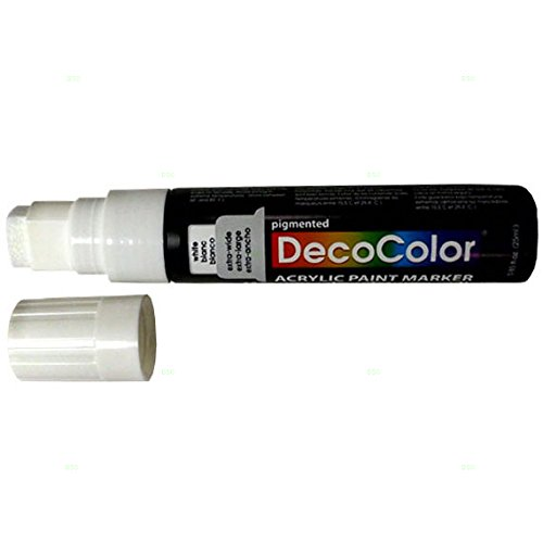 """Price comparison product image Single White Decocolor Paint Marker Pen Extra Broad Line Point 1 / 2"""" Tip Water Based Acrylic for Wood Plastic Paper Foam"""