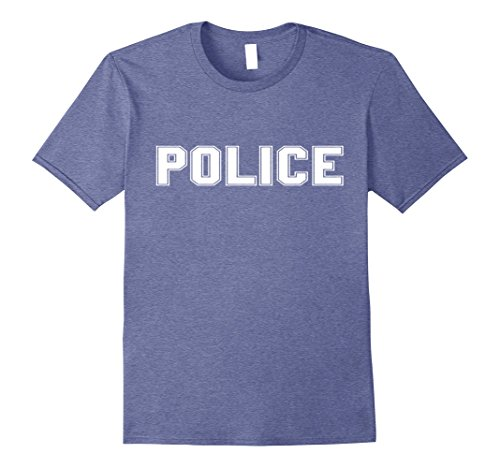Diy Cop Costumes (Mens Police Halloween Costume T Shirt Large Heather Blue)