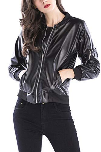 Vestes Open Femme Kelice Zip Manches PU Longues Noir Blouse Front d61qvqw