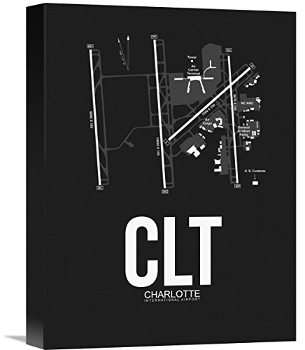 """Naxart Studio CLT Charlotte Airport Black Giclee on Canvas, 12"""" by 1.5"""" by 16"""" from Naxart Studio"""