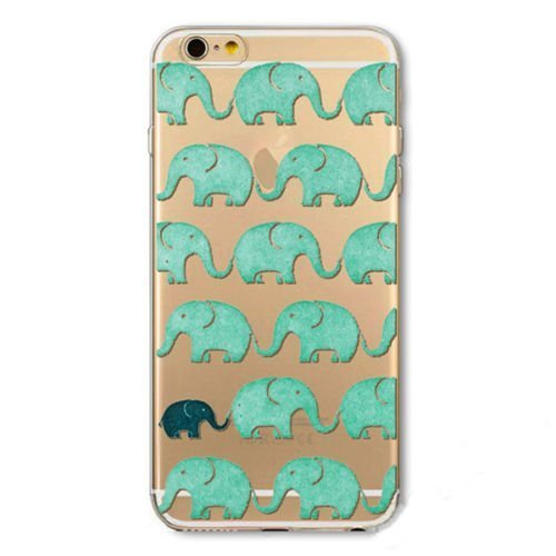 iPhone 8 / 7 Compatible, Colorful Flexible Slim Translucent Silicone Clear Case Cover for Apple - Elephant Pattern ()