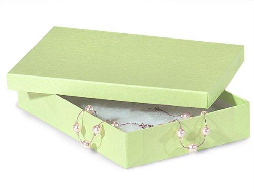 7x5x1-1/4 Light Green Jewelry Boxes w/ non-tarnish Cotton (Unit Pack - 100)