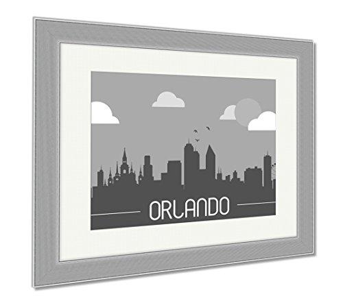 Ashley Framed Prints Orlando USA Skyline Silhouette, Wall Art Home Decoration, Black/White, 30x35 (frame size), Silver Frame, - Shops Disney Orlando Downtown