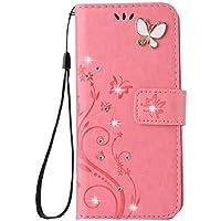 Aulzaju - Funda para iPhone XS Hecha a Mano, diseño de Mariposas y Flores, Rosado, iPhone XS MAX 6.5 Inch