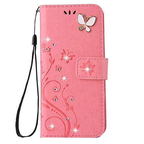 Price comparison product image Auroralove Samsung J7 Luxury Handmade Bling Rhinestone Soft Slim Flip Stand Wallet Case for Samsung J7 Flower Butterfly PU Leather Case for Girls Women (Samsung galaxy J7,  Pink)