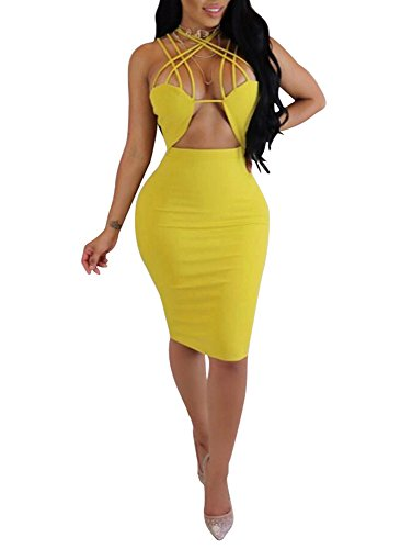 Dress Sexy Yellow (TOB Women's Sexy Sleeveless Lace Up Hollow Out Bodycon Club Midi Dress)