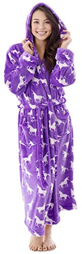 Women Luxurious Classic Flannel Plush Robe Long Sleeve Bath Robe White Unicorns Cat Robe