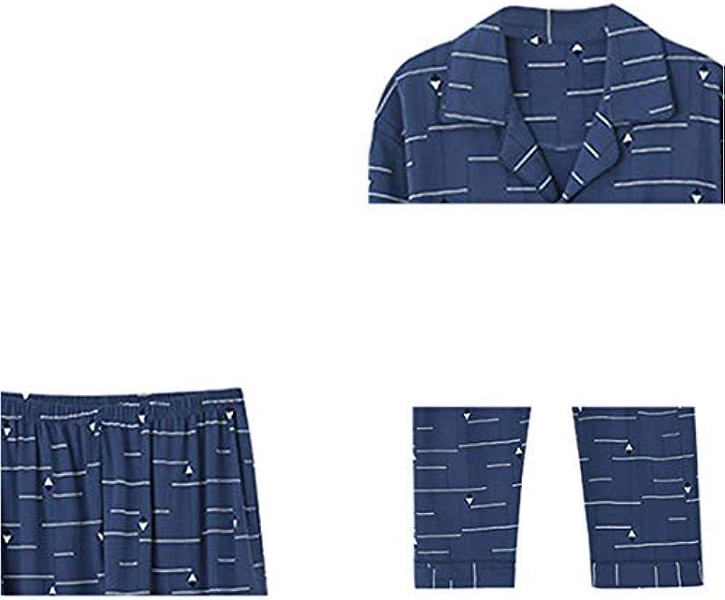 Pyjama Męskie Frühling und Herbst Modelle aus Reiner Baumwolle langärmeligen Revers Strickjacke Home Service Large Size Thin Baumwolle Druck Anzug,Blue-XXL: Küche & Haushalt