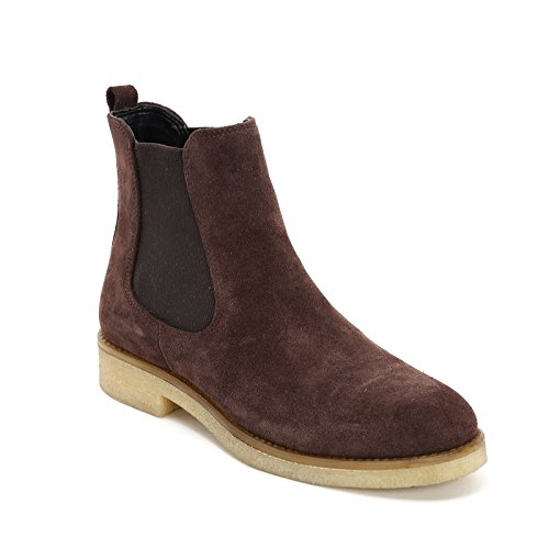 Crepe with Scarpe Dark Double in amp;Scarpe Boots Brown Sole by and Marina Leather Rubber Elastic Ankle Flat Seval 4wPUqU