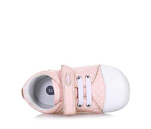 BOBUX - Chaussure Step Up Scribble rose en cuir, made in New Zealand, motif à pois, fermeture en velcro, bébé Fille