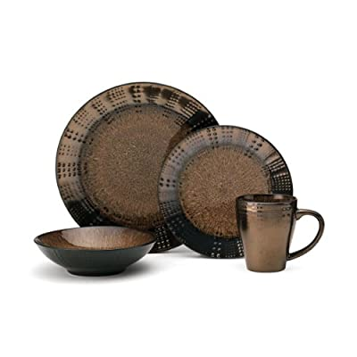 Gourmet Basic by Mikasa Verona 16-Piece Dinnerware Set, Service for 4 - Drawing inspiration from the beautiful patterns of nature, Verona features a combination of speckles, dots and linear striations in rich earth tones one stoneware pieces. This 16-piece dinnerware set includes 4 each of: 10-1/2 inch dinner plate, 8-1/4 inch salad plate, 7-3/4 inch soup bowl, 14-ounce mug. The high quality stoneware construction is both beautiful and durable. - kitchen-tabletop, kitchen-dining-room, dinnerware-sets - 41SL elO58L. SS400  -