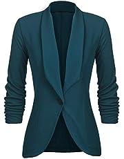 UNibelle Damesblazer elegant getailleerd business pak 3/4 mouwen lang borduurjack, donkergroen, XXL