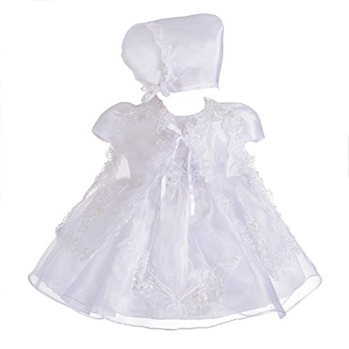 Dressy Daisy Baby Girls' 3 pcs Lace Baptism Christening Dresses with Cape Bonnet Infant Size 6-9 Months White ()
