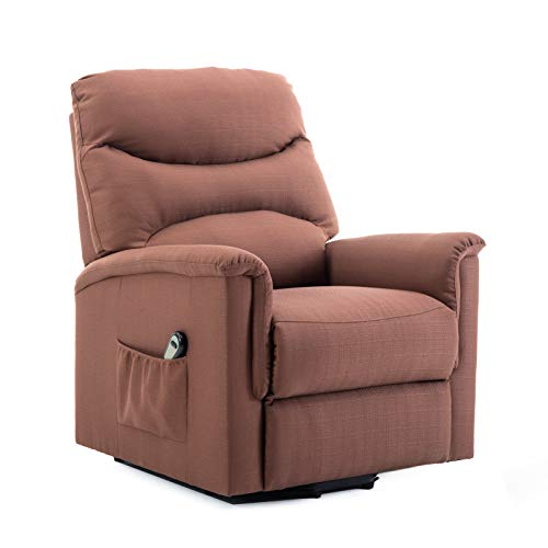 (BONZY Lift Recliner Power Lift Chair Soft and Warm Fabric with Remote Control for Gentle Motor - TAN)