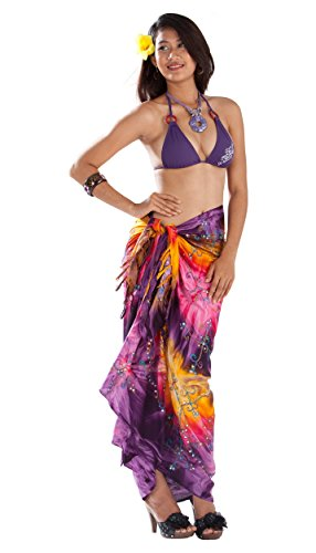 Embroidered Tie Dye Tie - 1 World Sarongs Womens Embroidered Tie Dye Cover-Up Sarong in Purple/Yellow