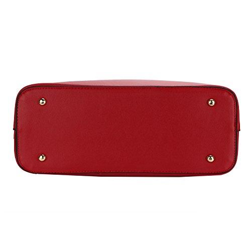 Frauen PU Leder Henkeltaschen Schultertaschen Tasche Handtasche Umhängetasche Damen Rot