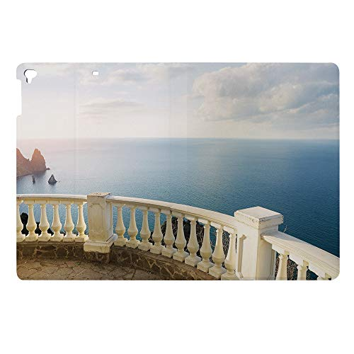 Fashion Print Case for Apple New iPad 9.7 2017 2018 Cover Cases,Model A1822 A1823 A1893 PU Leather Stand Shell,Balcony Balustrade Ocean Rocks Horizon Ancient
