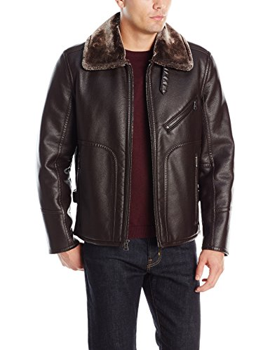 (Marc New York by Andrew Marc Men's Lenox Faux Shearling Pilot Jacket, Brown, Large)