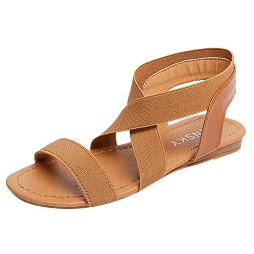 (Women's Elastic Flat Sandals Criss-Cross Ankle Strap Open Toe Low Heel Beach Shoes Anti Skidding Summer Shoes)