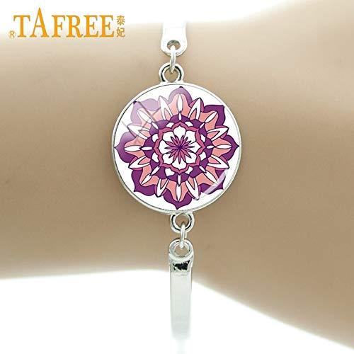 Chain & Link Bracelets - Fashion Amulet Religion Totem Bracelet Simple Yoga Indian Mandara Retro Glass Dome Bracelet Women Exquisite Jewelry ZY41 - by Mct12-1 PCs