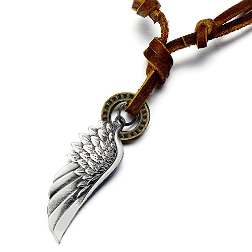 COOLSTEELANDBEYOND Retro Style Angel Wing Pendant Unisex Necklace for Men for Women with Adjustable Leather Cord