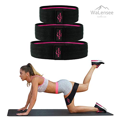 Walensee Resistance Bands for Legs and Butt, Thigh Bands for Workout, Glute Bands, Squat Bands for Butt and Thighs, Non Slip Resistance Bands, Workout Bands for Butt, Legs, Hip (Black-3size/SET)