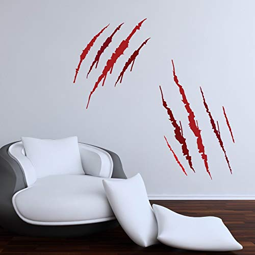 Yetta Quiller Werewolf Claw Marks Halloween Party Wall Stickers Decorations Horror Blood ()