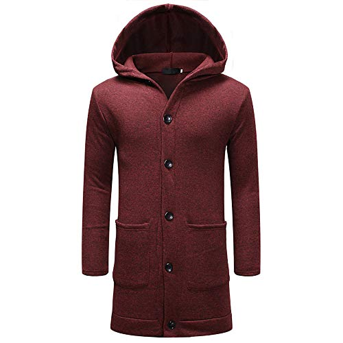 Realdo Men's Hoodie Trench Coat, Mens Fashion Slim Fit Hooded Button Solid Long Overcoat Jacket(X-Large,Wine) (Snowboard Goggles Wine)
