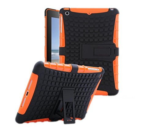 Protective Heavy Duty Tough 2 in 1 TPU PC Design Holder Case Cover Fit for New iPad 9.7 inch 2017 Released Model MP2G2LL MP2J2LL MPGT2LL MPGW2LL MP2F2LL MP2H2LL MP252LL MP2E2LL Black Orange ()