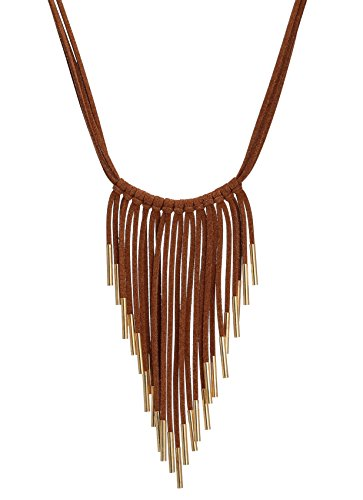 Gold Plated Tube (Suede Cord Tassel Pendant Necklace with Gold Plated Copper Tube Bib Necklace Costume Jewelry Brown)