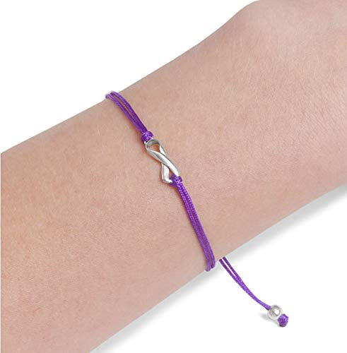 Purple Thread Womens Friendship Support Bracelet, Handmade Small Sterling Silver Ribbon Shaped Charm. Awareness for Alzheimer's Disease, Pancreatic Cancer, Epilepsy, Lupus, Domestic Violence