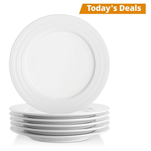 Lifver 10-inch Porcelain Dinner Plates/Serving Platters with Embossed Ring Rim, Round&Elegant White, Set of (White Porcelain Plate)